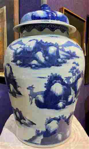 Chinese large blue and white covered vase