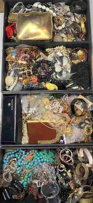 Four trays of costume jewelry (Estate of the twins)
