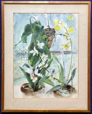 Watercolor of orchids, Frederick W. Pomeroy,c1910