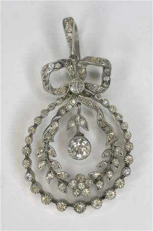 Silver,.50ct diamond and paste Edwardian style pendant