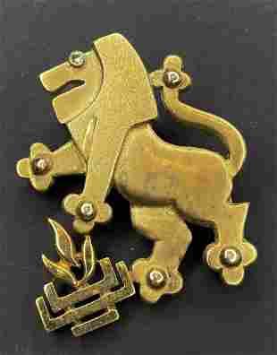 14k gold and diamond Lions of Judah brooch,c1970