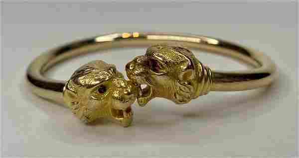 14k gold bangle bracelet, lion heads,c1880
