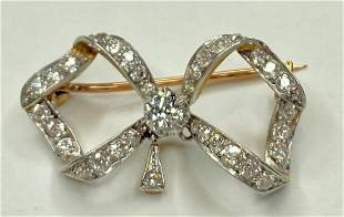 14k dia brooch with one of two dangles missing, c.1890