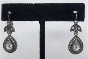 14k gold, silver, and diamond drop earrings