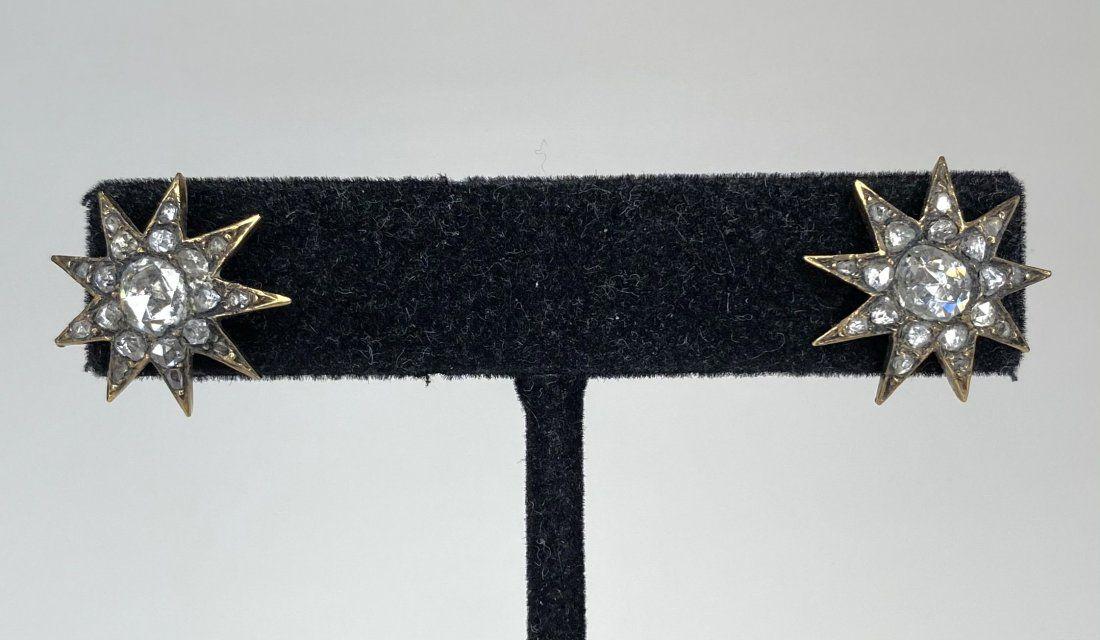 10k gold, rose cut diamond earrings, 9 point star