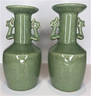 Pair of Chinese green glaze vases