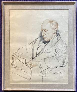 Drawing of a man reading by Xavier Gonzalez, dated 1944