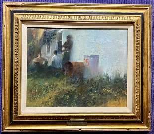 Painting of boys by Raymond Maher,1970, won award