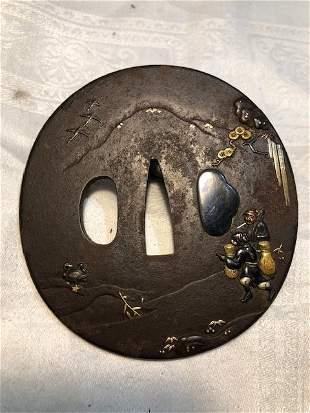 Iron tsuba w/gold inlay, 2 figures on mountain