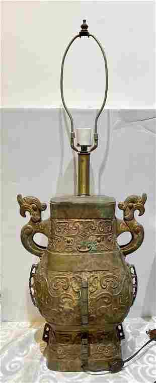 Chinese archaic style bronze lamp, 20th century
