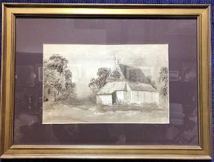 Watercolor of cottage house, unsigned,c1920