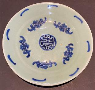 Chinese blue and green plate, four character mark