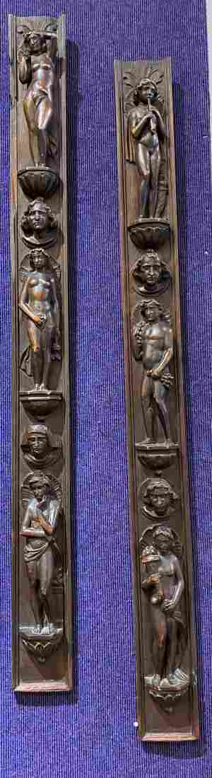 Pair of carved wood panels, c1880
