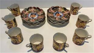 Set of Imari cups and saucers (Occupied Japan)