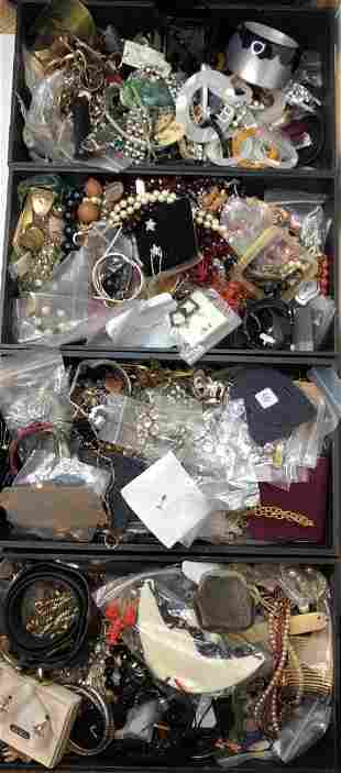 Costume jewelry in four trays(Estate of the twins)