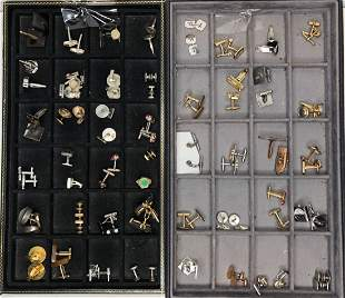Forty eight cufflink pairs in two trays,ten ster