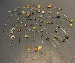 Miscellaneous group of 50 stick pins 1880-1950