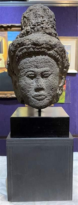 Javanese volcanic Shiva head, 19thc or earlier
