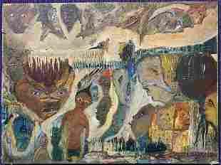 Ptg of demonic faces, Herman & Estelle Goodman 1960