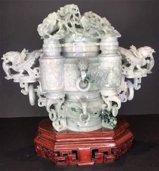 Chinese jade covered dragon censer