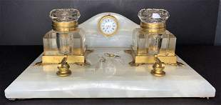 Onyx inkwell with clock, c1880