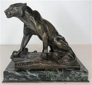 Bronze of cougar by Maurice Frecourt, c1890