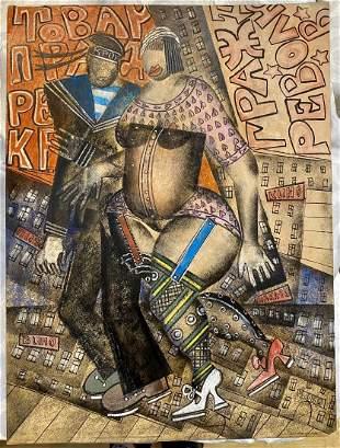 Pastel by Vladimir Lebedev, lady and sailor