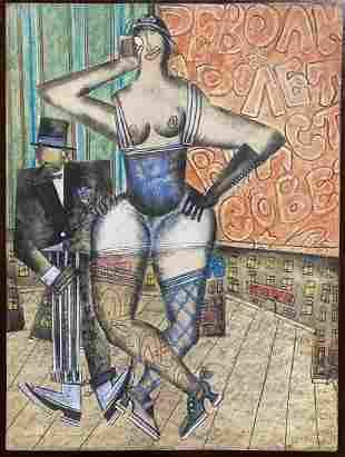 Pastel by Vladimir Lebedev, lady and gentleman