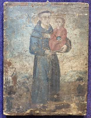 Painting of Saint Anthony & child, South American