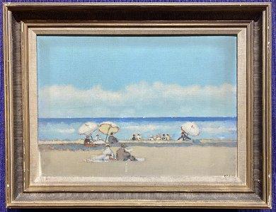 Painting of beachgoers by Frederick McDuff