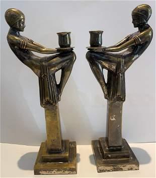 Pair of Art Deco Egypt style sticks, c1930