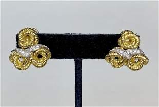 18k gold & diamond rope earrings, 7.55 dwts