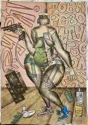 Pastel by Vladimir Lebedev, lady with gun & radish