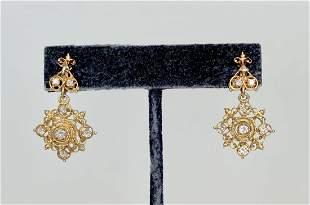 14k diamond earrings,Victorian style, c1950, 5 dwts