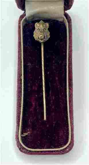 14k boars head stick pin, c1880, 2.95 dwts