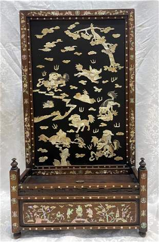 Chinese mother of pearl letter box, c.1900