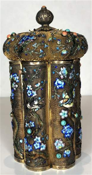 Chinese silver box with turquoise,coral.17.11 t oz