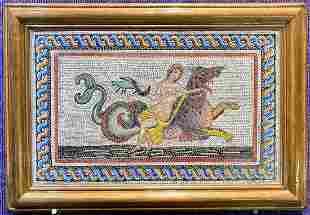Fine Roman style mosaic of sea serpent rider