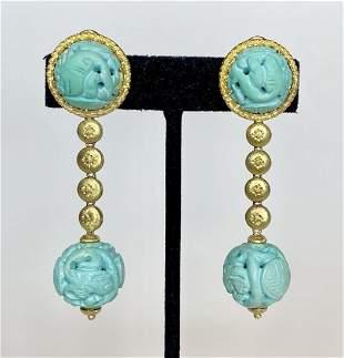 18k M.Buccellati turquoise earrings-Chinese design