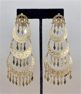 Large 14k gold gypsy earrings, 8.55 dwts