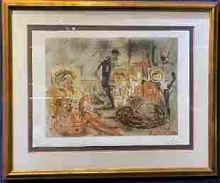 Salvador Dali lithograph, Studio of Dali, c1965