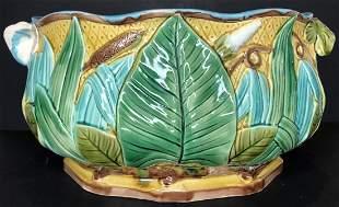 Green Majolica Art Nouveau bowl, c1900