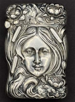 Unger Bros Art Nouveau match safe, womans face,c1900