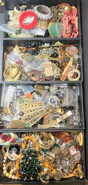 Four trays of costume jewelry (Estate of twins)