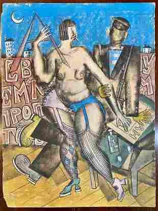 Pastel by Vladimir Lebedev, lady, man, & vodka
