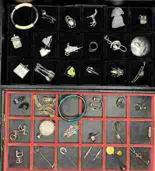 36 Antique silver jewelry items in two trays