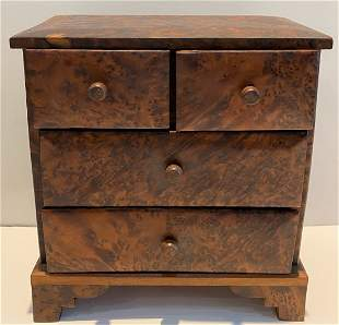 Small burled wood jewelry chest