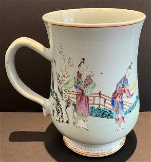 Chinese porcelain cup with handle