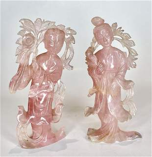 Two Chinese carved rose quartz Guanyins