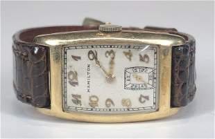 Hamilton 14k gold mans Art Deco wristwatch